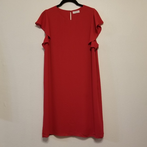 Aritzia Dresses & Skirts - Babaton (Aritzia) ruffle cap sleeve red dress